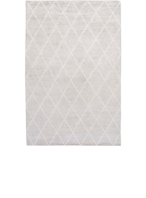 6' x 9' Jolted Divide Dolphin Overcast Gray and Latte White Hand Knotted Area Throw Rug - IMAGE 1