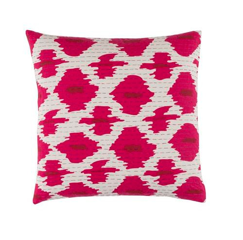 "22"" Pink and White Square Throw Pillow  – Down Filler - IMAGE 1"