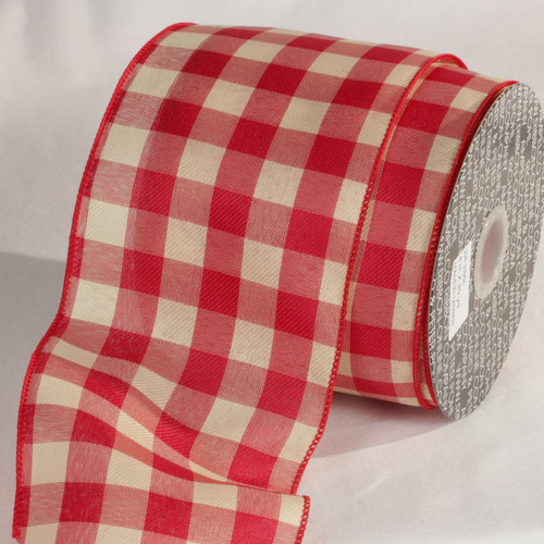 """Red and White Wired Craft Ribbon 4"""" x 20 yards - IMAGE 1"""