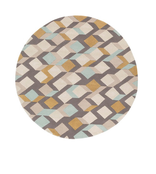 8' Contemporary Gray and Ivory Hand Tufted Round Area Throw Rug - IMAGE 1