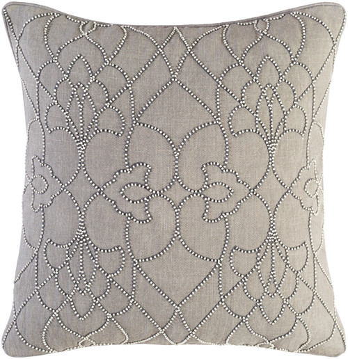 """22"""" Gray and Frosted White Contemporary Woven Throw Pillow - Down Filler - IMAGE 1"""