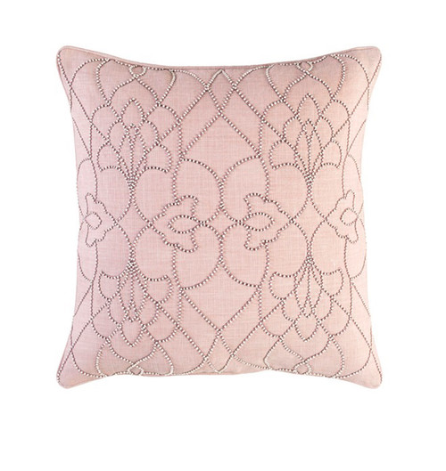 """22"""" Pink and Ivory Square Contemporary Woven Throw Pillow - IMAGE 1"""