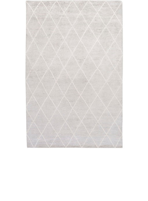 2' x 3' Jolted Divide Dolphin Overcast Gray and Latte White Hand Knotted Area Throw Rug - IMAGE 1
