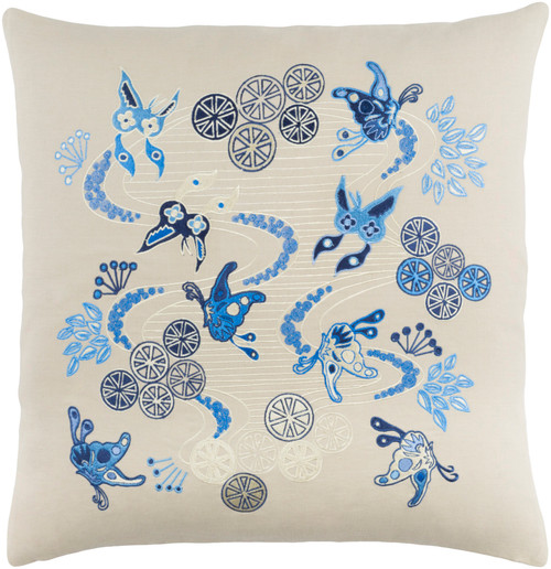 "18"" Cream White and Bright Blue Butterflies in Paradise Throw Pillow - IMAGE 1"