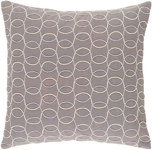 "20"" Gray and Cream White Contemporary Throw Pillow - IMAGE 1"
