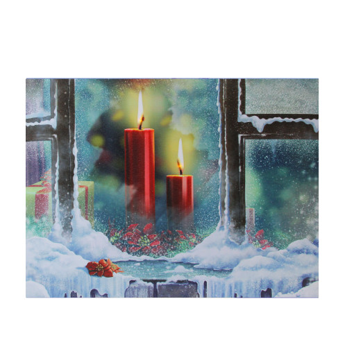"""LED Lighted Snowy Window Pane and Candles Christmas Canvas Wall Art 12"""" x 15.75"""" - IMAGE 1"""