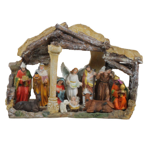 "18"" Traditional Religious Christmas Nativity with Stable House Decoration - IMAGE 1"
