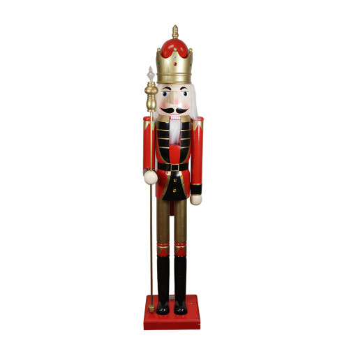 5' Red and White Commercial Size Christmas Nutcracker with Scepter - IMAGE 1