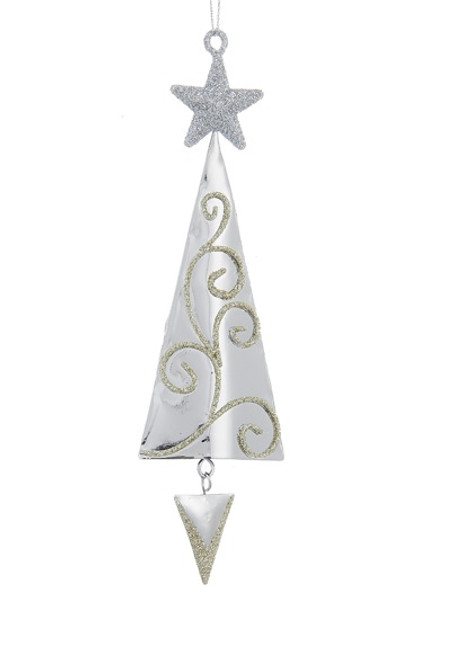 65 Silver Metal Tree With Gold Swirls Silver Star Hanging