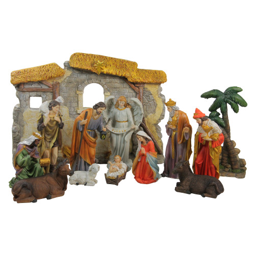 "13-Piece Gray Traditional Religious Christmas Nativity Figurine with Stable 23.25"" - IMAGE 1"
