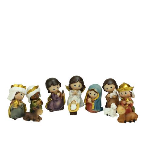 "Set of 11 Vibrantly Colored Christmas Nativity Figurine - 3.5"" - IMAGE 1"