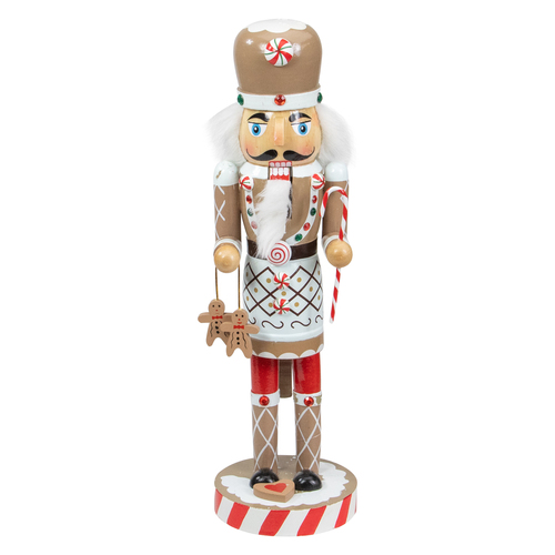 """14"""" Beige and Red Gingerbread Chef Christmas Nutcracker - IMAGE 1"""
