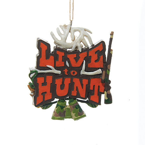 "3.5"" Green and White ""LIVE to HUNT"" Sign Hanging Christmas Ornament - IMAGE 1"