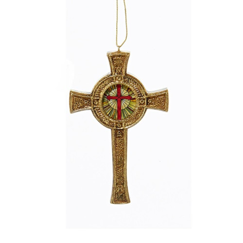 """4.5"""" Gold Cross with Stained Glass Hanging Christmas Ornament - IMAGE 1"""