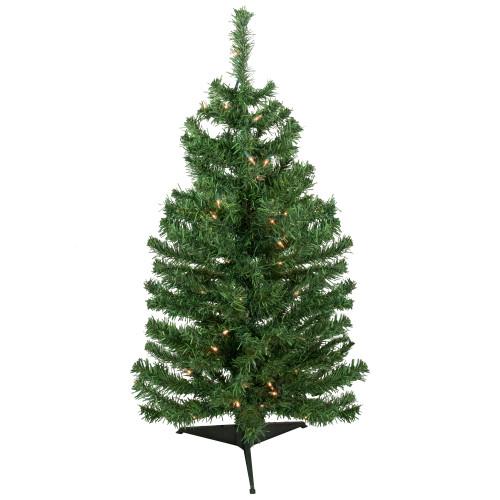 3' Pre-Lit Green Medium Niagara Pine Artificial Christmas Tree - Clear Lights - IMAGE 1