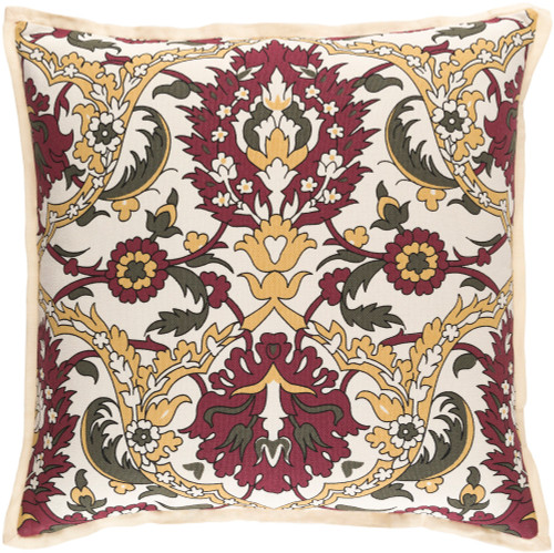 """20"""" Red and Beige Damask Square Throw Pillow - Down Filler - IMAGE 1"""