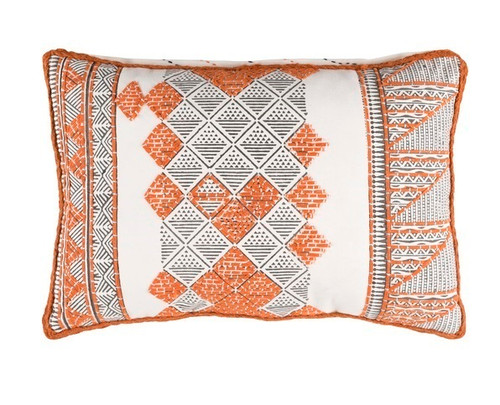 "22"" Orange and White Diamond Hand Embroidered Throw Pillow - IMAGE 1"