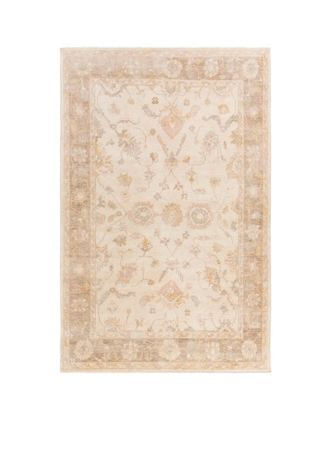 6' x 9' Persian Serenity Ivory and Brown Hand Knotted Wool Area Throw Rug - IMAGE 1
