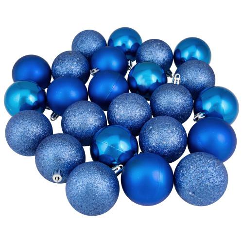 "24ct Lavish Blue Shatterproof 4-Finish Christmas Ball Ornaments 2.5"" (60mm) - IMAGE 1"