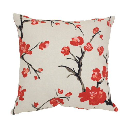 18.5-Inch Red and White Floral Eco-Friendly Virgin Recycled Square Throw Pillow - IMAGE 1