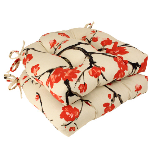 "Set of 2 Beige and Red Asian Flowering Branch Tufted Outdoor Chair Pads 16"" - IMAGE 1"
