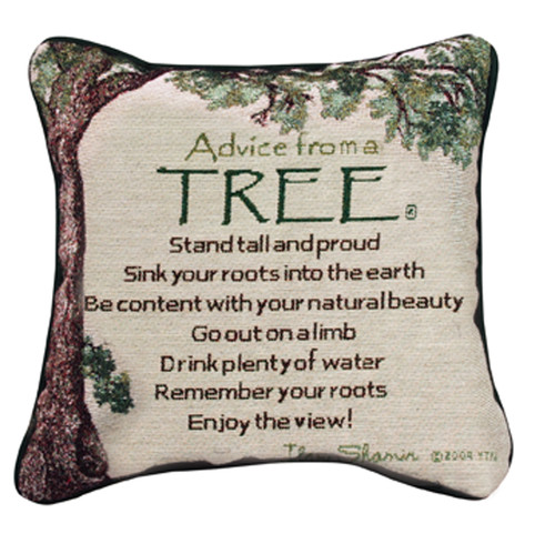 """12.5"""" Ivory and Green Tree Inspired Quote Decorative Square Throw Pillow - IMAGE 1"""