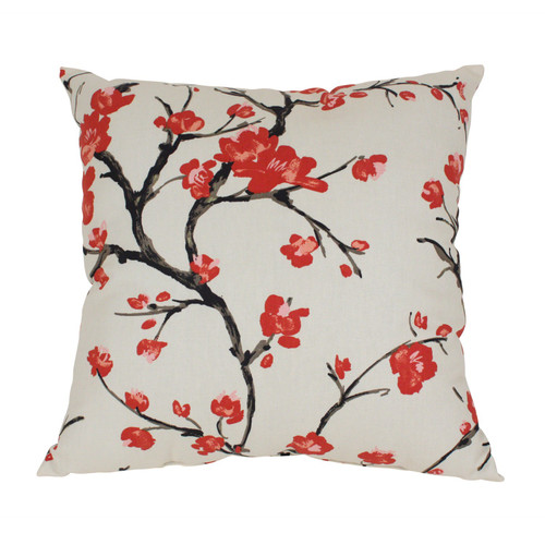 23-Inch Red and White Floral Eco-Friendly Virgin Recycled Square Throw Pillow - IMAGE 1