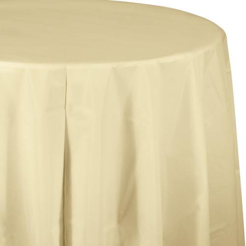 """Club Pack of 12 Ivory Octy-Round Disposable Table Covers 82"""" - IMAGE 1"""
