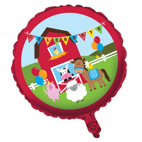 """Pack of 10 Red and Blue Farmhouse Fun Metallic Celebrate Foil Party Balloons 18"""" - IMAGE 1"""