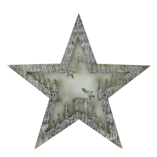 "11"" White Battery Operated LED Lighted Rustic Star Christmas Decor - IMAGE 1"