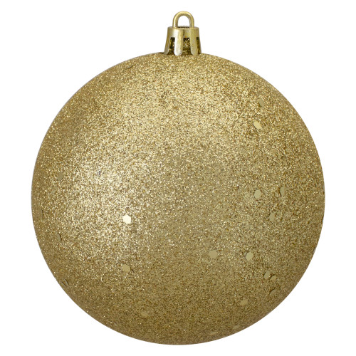 """Holographic Glitter Gold Shatterproof Christmas Ball Ornament 4"""" (100mm) - IMAGE 1"""