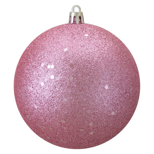 """Holographic Glitter Pink Shatterproof Christmas Ball Ornament 4"""" (100mm) - IMAGE 1"""