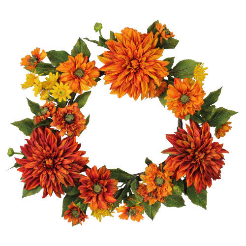 Mums and Daisies Twig Artificial Floral Wreath, Orange 22-Inch - IMAGE 1
