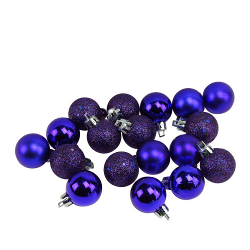 "18ct Indigo Blue Shatterproof 4-Finish Christmas Ball Ornaments 1.25"" (30mm) - IMAGE 1"