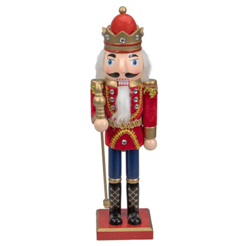 """14"""" Red and Gold Traditional Christmas Nutcracker King with Scepter Tabletop Figurine - IMAGE 1"""