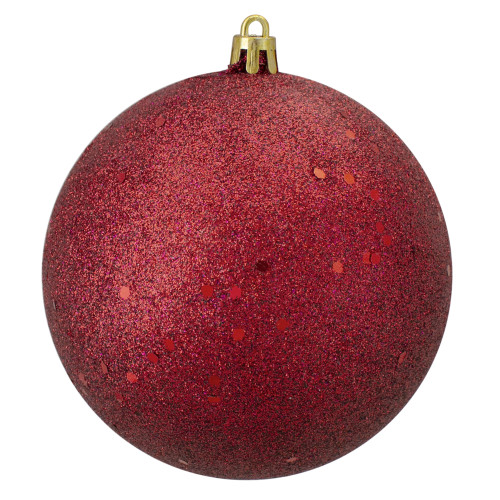 "Holographic Glitter Burgundy Red Shatterproof Christmas Ball Ornament 4"" (100mm) - IMAGE 1"
