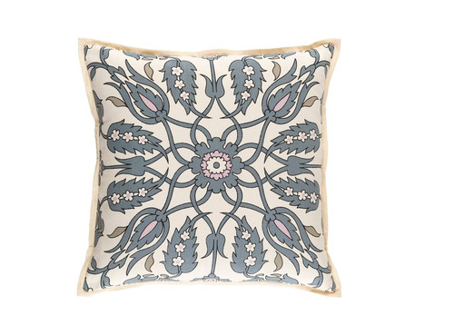 """20"""" Beige and Gray Woven Square Throw Pillow - Down Filler - IMAGE 1"""