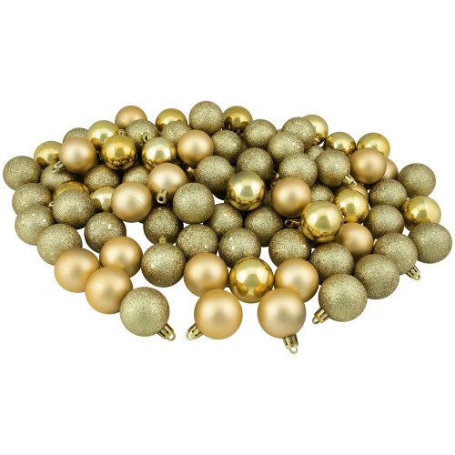 "96ct Vegas Gold Shatterproof 4-Finish Christmas Ball Ornaments 1.5"" (40mm) - IMAGE 1"