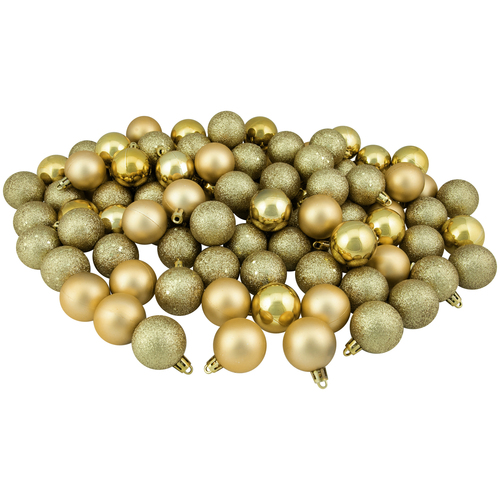 "96ct Vegas Gold Shatterproof 4-Finish Christmas Ball Ornaments 1.5"" (40mm) - IMAGE 1"