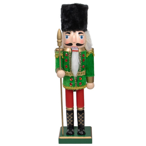 """14"""" Green and Red Christmas Nutcracker Soldier with Spear - IMAGE 1"""