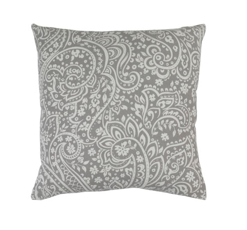 """18"""" Hazy Gray and Lily White Paisley Decorative Throw Pillow - Down Filler - IMAGE 1"""