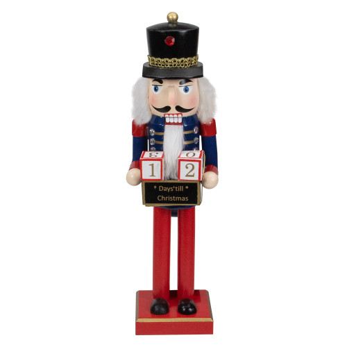 """14"""" Red and Blue Christmas Nutcracker with Countdown Sign - IMAGE 1"""