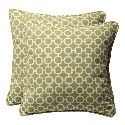 """Set of 2 Green and White Geometric Square Outdoor Throw Pillows 18.5"""" - IMAGE 1"""