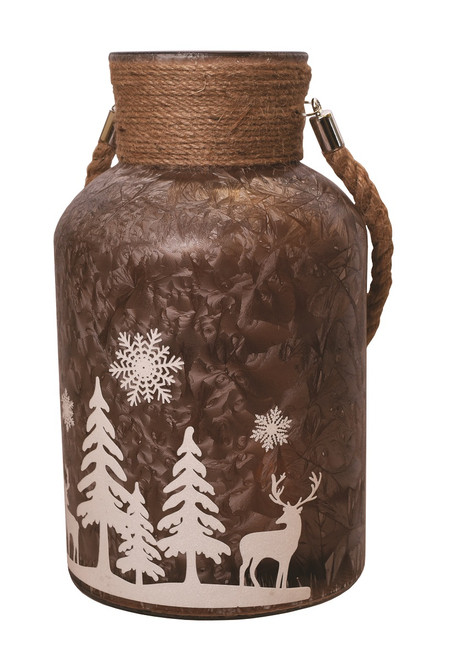 "12"" Brown Winter Scene Christmas Pillar Candle Holder Lantern with Handle - IMAGE 1"