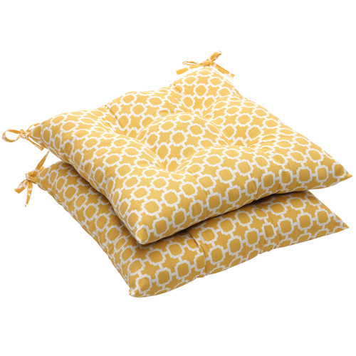 """Set of 2 Yellow and White Geometric Outdoor Patio Tufted Seat Cushions 19"""" - IMAGE 1"""