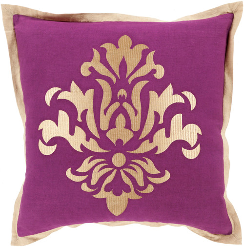 """20"""" Metallic Purple and Gold Floral Square Throw Pillow - Down Filler - IMAGE 1"""