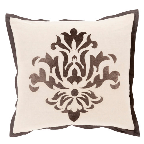 "22"" Brown and Ivory Contemporary Square Throw Pillow - IMAGE 1"