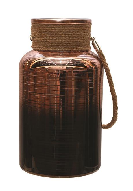 "10"" Copper Brown Circular Pillar Candle Holder Lantern with Handle - IMAGE 1"