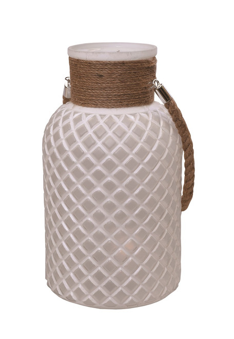 """14.5"""" White and Brown Glass Pillar Candle Holder - IMAGE 1"""