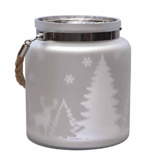 "6"" Silver Matte Winter Scene Christmas Pillar Candle Lantern - IMAGE 1"
